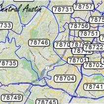 Austin area Zip Code Maps & Links
