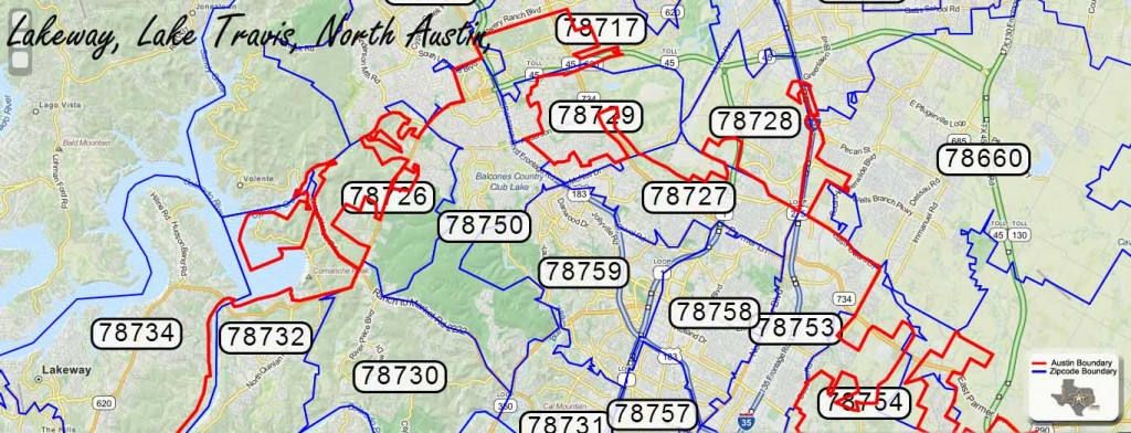 North Austin area Zipcode map